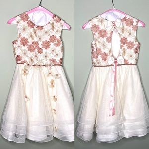 Chantilly Place girls dress with floral appliqué
